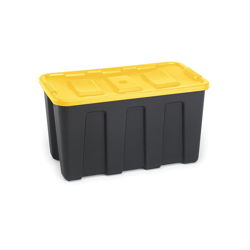 HOMZ Durabilt 34 Gal. Storage Container in Black Base with Yellow Lid (Set of 2)
