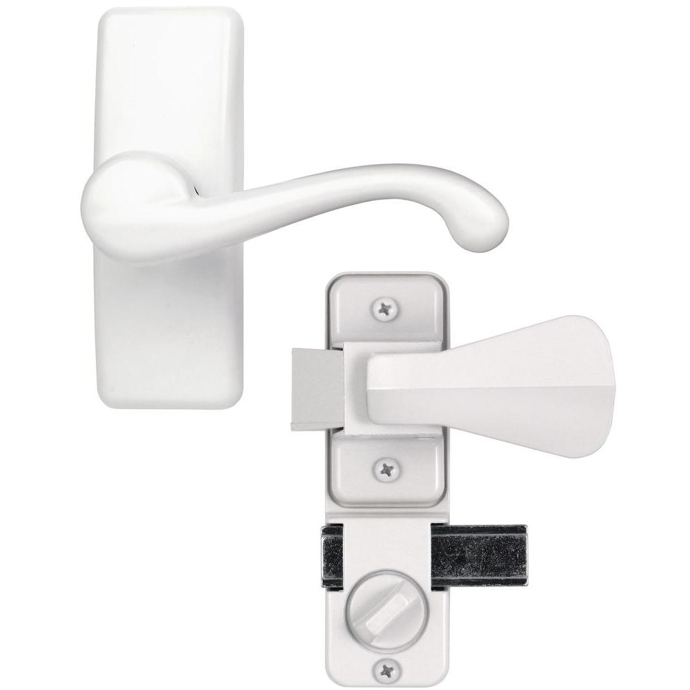 Bon IDEAL Security White Painted Zinc Storm And Screen Door Lever Handle Set  With Deadbolt