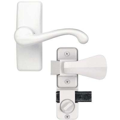 White Painted Zinc Storm and Screen Door Lever Handle Set with Deadbolt