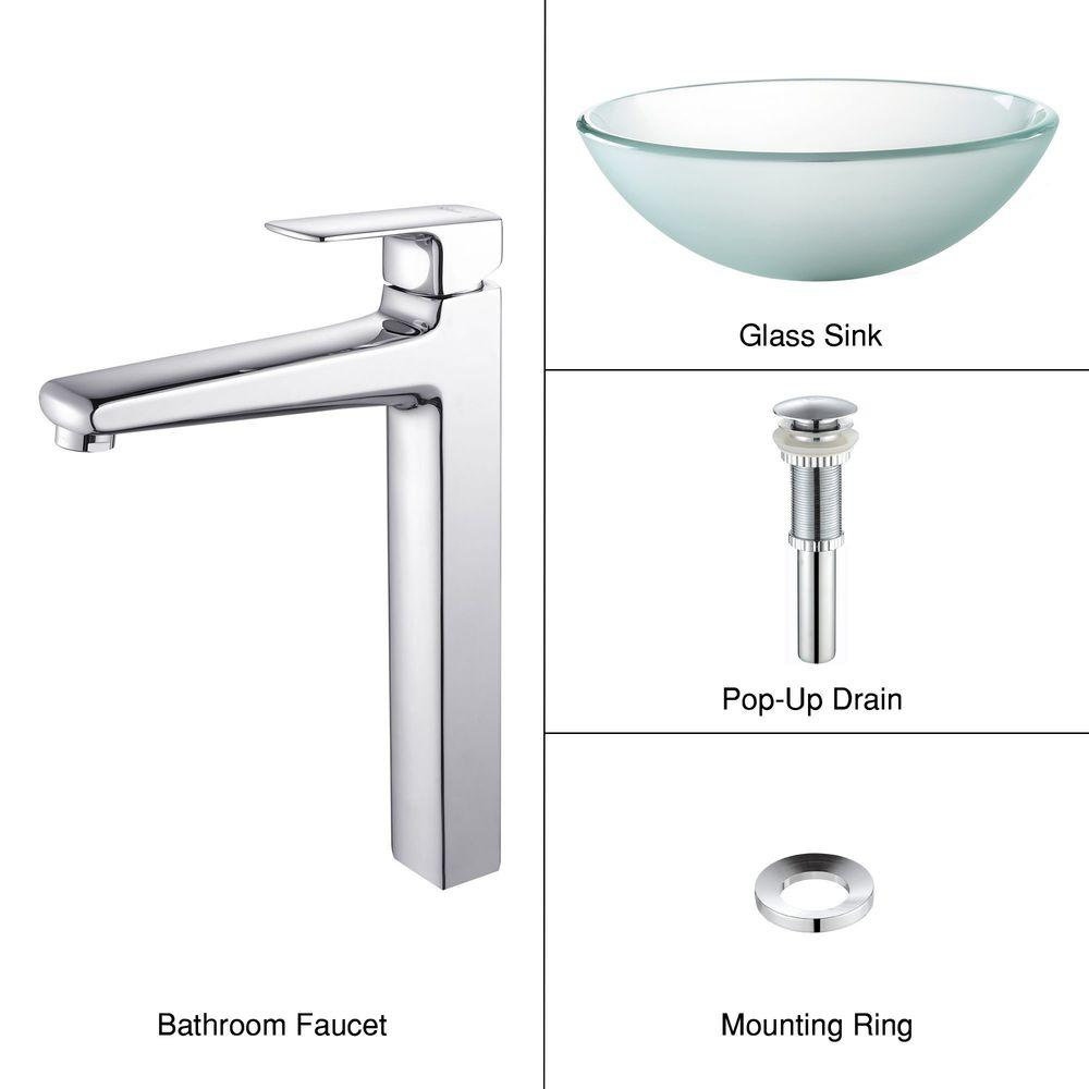 KRAUS Frosted Glass Vessel Sink in Clear with Virtus Faucet in Chrome