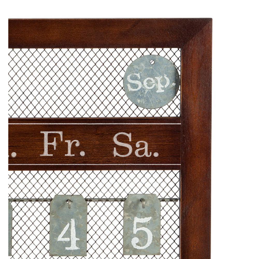 Lone Elm Studios 23 in. x 25 in. Brown Wood and Metal Perpetual Calendar