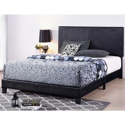 Black Queen Size Faux Leather Upholstered Platform Bed