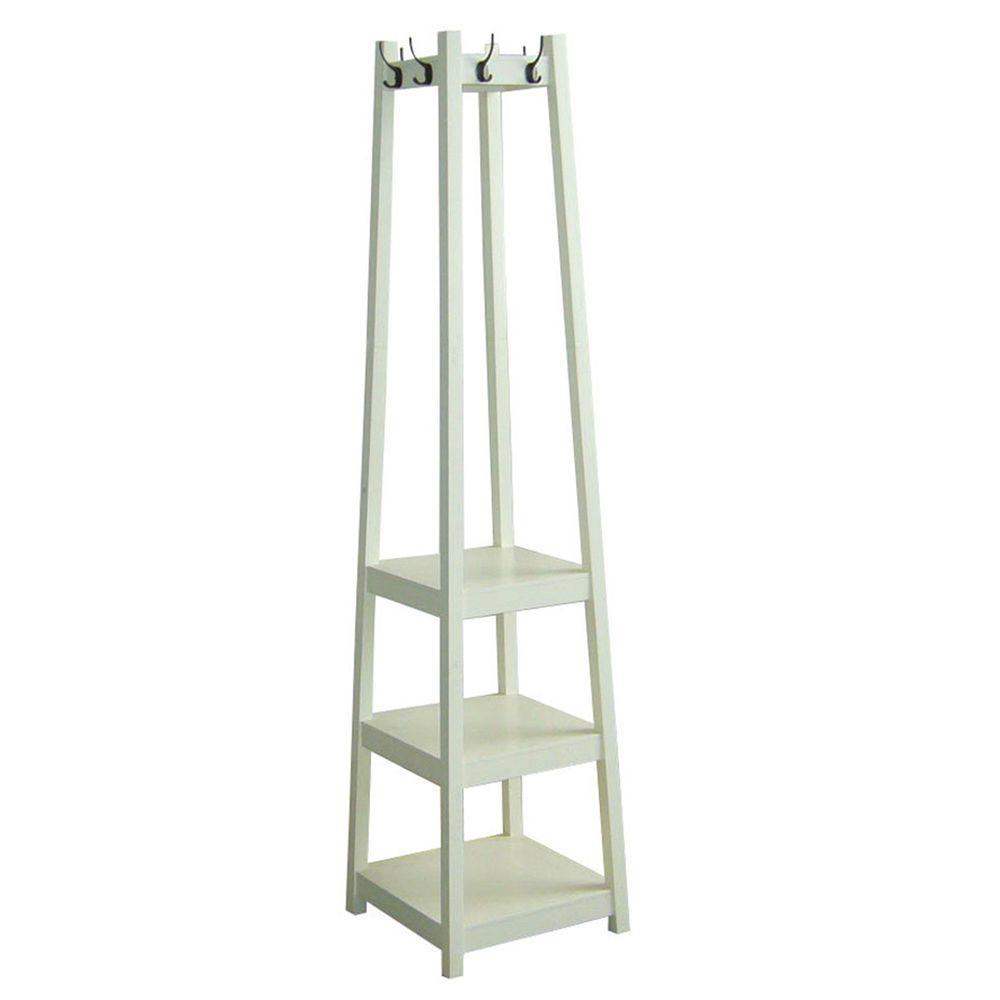 White 8-Hook Coat Rack, White Color
