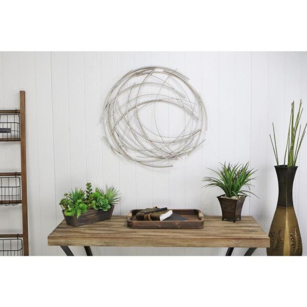 Silver Abstract Round Wall Art