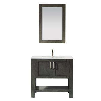 Grayson 36 in. Bath Vanity in Black with Manufactured Stone Vanity Top in White with White Basin and Mirror