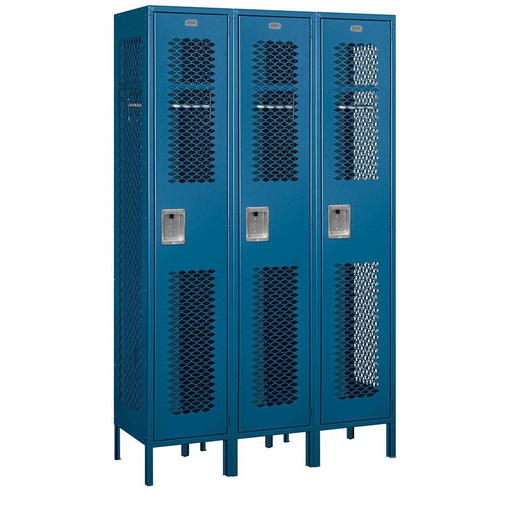 81000 Series 45 in. W x 78 in. H x 18 in. D Single Tier Extra Wide Vented Metal Locker Unassembled in Blue