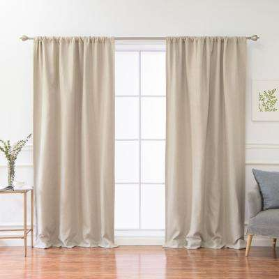84 in. L Polyester Faux Linen Room Darkening Curtains in Natural