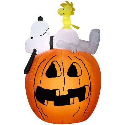 4.50 ft. Pre-Lit Inflatable Snoopy and Woodstock on Pumpkin-MD Scene Airblown
