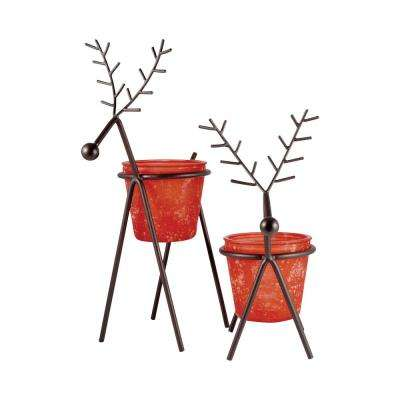 Reindeer 18 in. and 14 in. Rustic metal and Red Tierra Glass Candle Holders (Set of 2)
