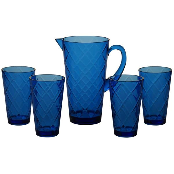 Certified International 5-Piece Cobalt Blue Drinkware Set