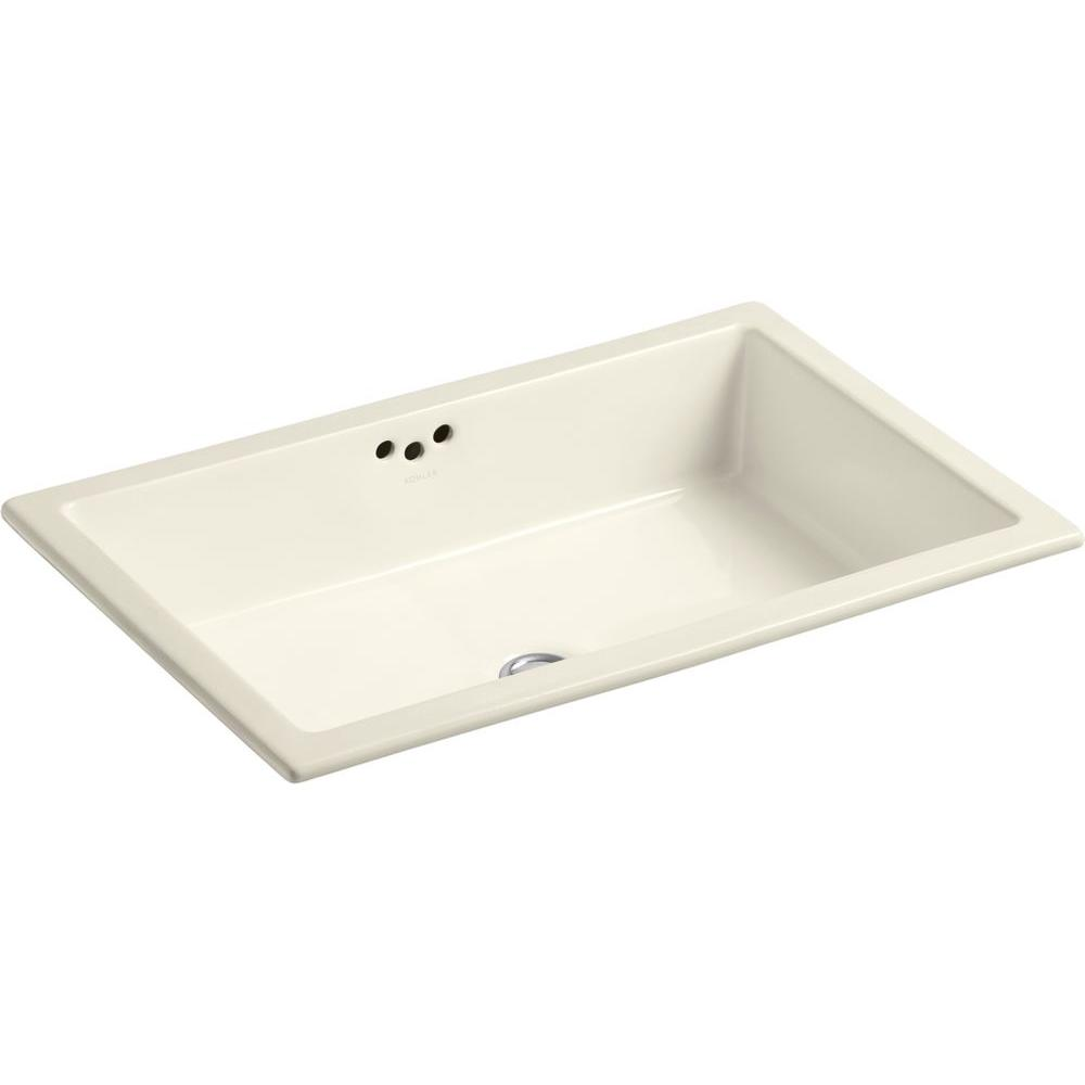 Kohler Kathryn Vitreous China Undermount Bathroom Sink In Almond With Overflow Drain K 2297 47
