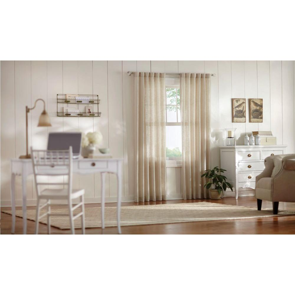 Home Decorators Collection Semi Opaque Taupe Faux Linen Polyester Back Tab Curtain 95 In L X