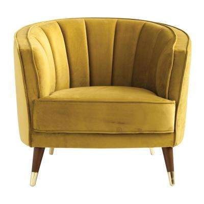Chartreuse Velvet Barrel Chair