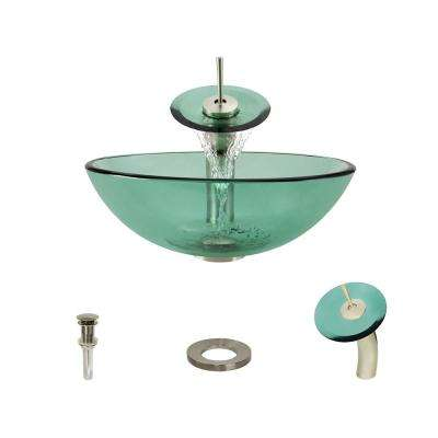 Glass Vessel Sink in Emerald with Waterfall Faucet and Pop-Up Drain in Brushed Nickel