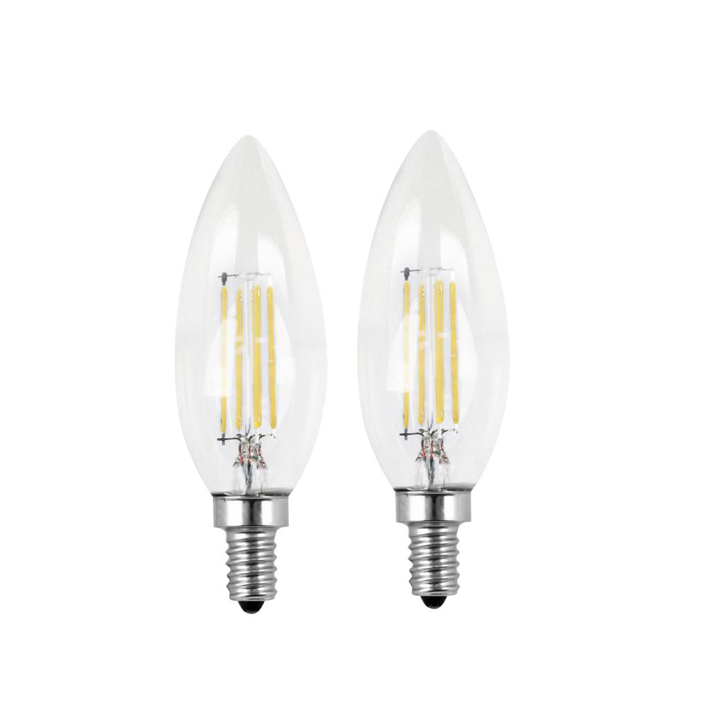 Feit Electric 60w Equivalent Soft White 2700k B10 Candelabra Dimmable Filament Led Clear Gl