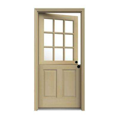 36 in. x 80 in. 9 Lite Unfinished Wood Prehung Left-Hand Inswing Dutch Back Door with AuraLast Jamb and Brickmold