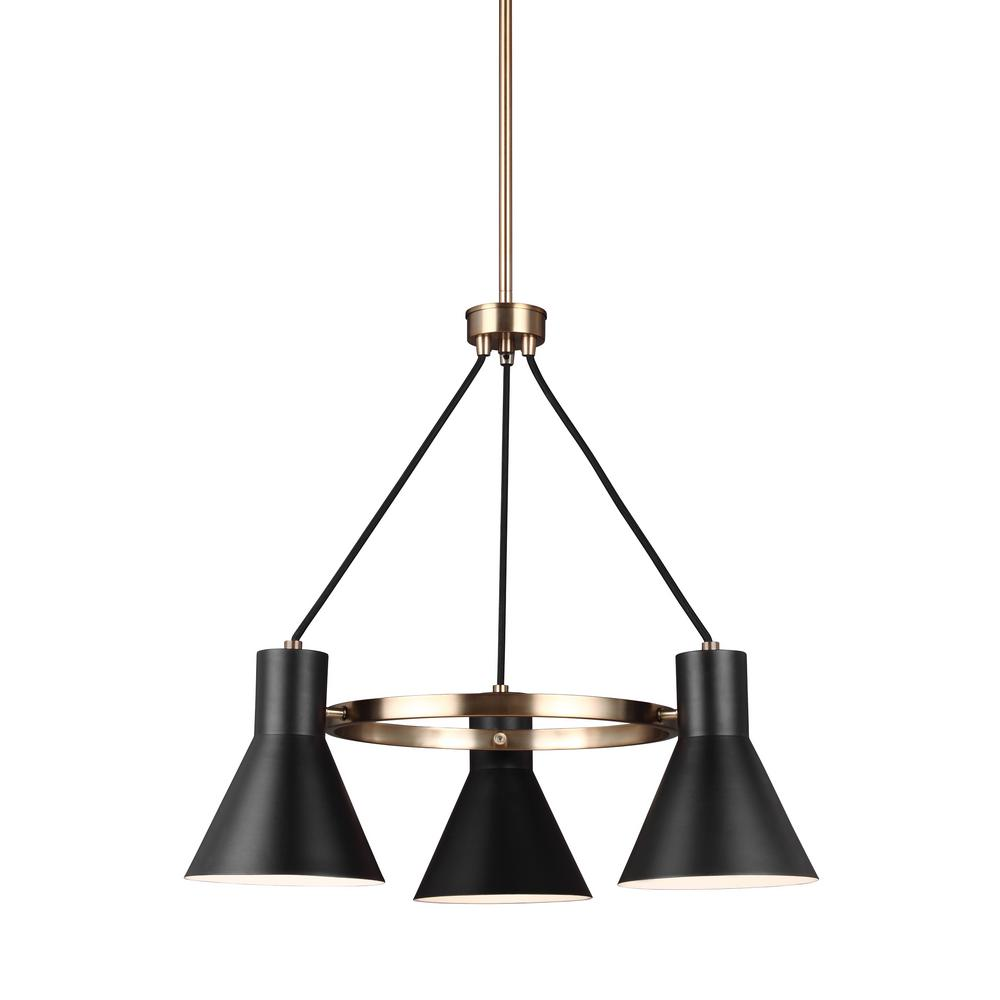 Towner 3-Light Black Shade with Satin Bronze Accents Chandelier with LED