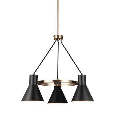 Towner 3 Light Black Shade With Satin Bronze Accents Chandelier Led Bulbs