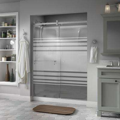 Portman 60 in. x 71 in. Semi-Frameless Contemporary Sliding Shower Door in Nickel with Transition Glass
