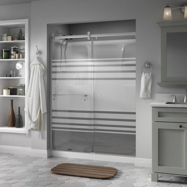 Portman 60 x 71 in. Frameless Contemporary Sliding Shower Door in Nickel with Transition Glass
