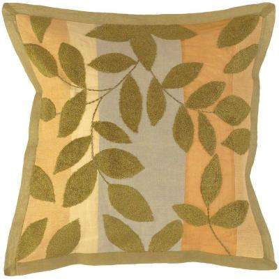 LeavesG2 18 in. x 18 in. Decorative Down Pillow