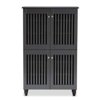 Fernanda 48 in. H x 30 in. W 18-Pair Dark Gray Wooden Shoe Storage Cabinet