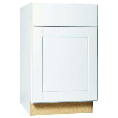 Shaker Assembled 21x34.5x24 in. Base Kitchen Cabinet with Ball-Bearing Drawer Glides in Satin White