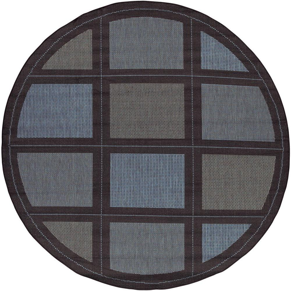 Couristan Recife Summit Blue Black 7 ft. 6 in. x 7 ft. 6 in. Round Area Rug