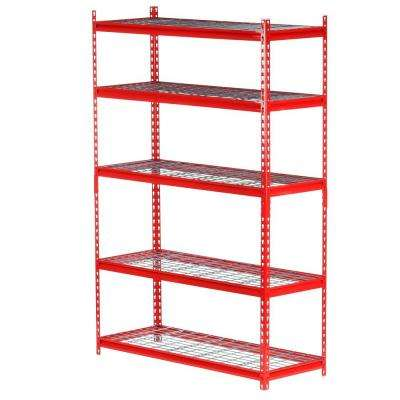 72 in. H x 48 in. W x 18 in. D5-Shelf Steel Storage Shelving Unit in Red