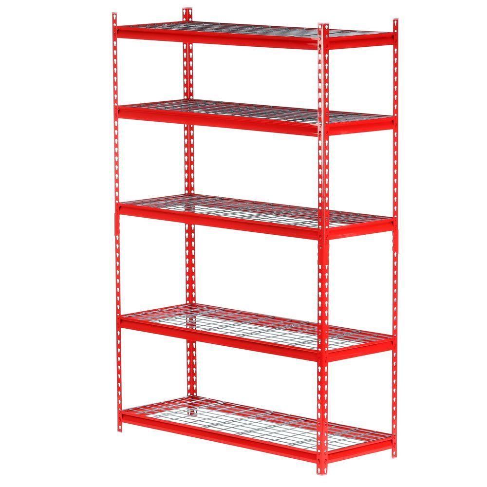 72 in. H x 48 in. W x 18 in. D 5-Shelf Steel Storage Shelving Unit in Red