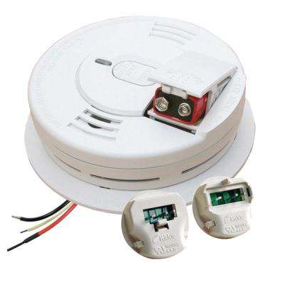 Hardwire Smoke Detector with 9V Battery Backup with Adapters, Ionization Sensor, and 1-button test/hush