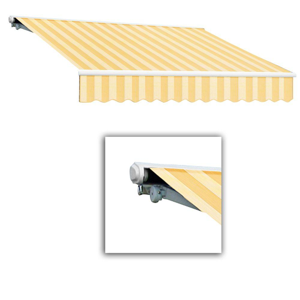 AWNTECH 18 ft. Galveston Semi-Cassette Right Motor with Remote Retractable Awning (120 in. Projection) in Almond Multi