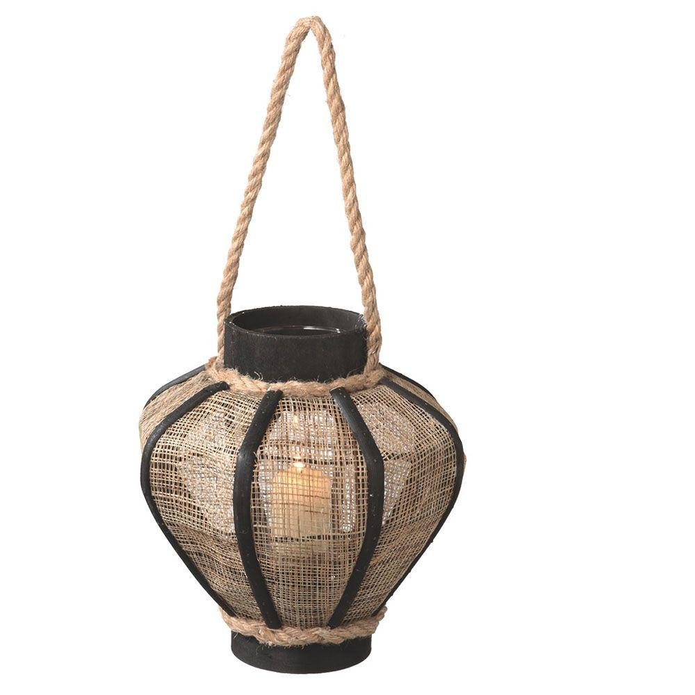 Filament Design Sundry 9.25 in. Black/Tan Pillar Candle Holder