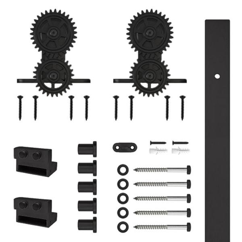 78-3/4 in. Top Mount Gear Black Rolling Barn Door Hardware Kit with 2-3/4 in. Wheel