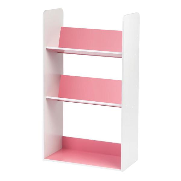 IRIS White and Pink 3-Tier Book Cart 596100