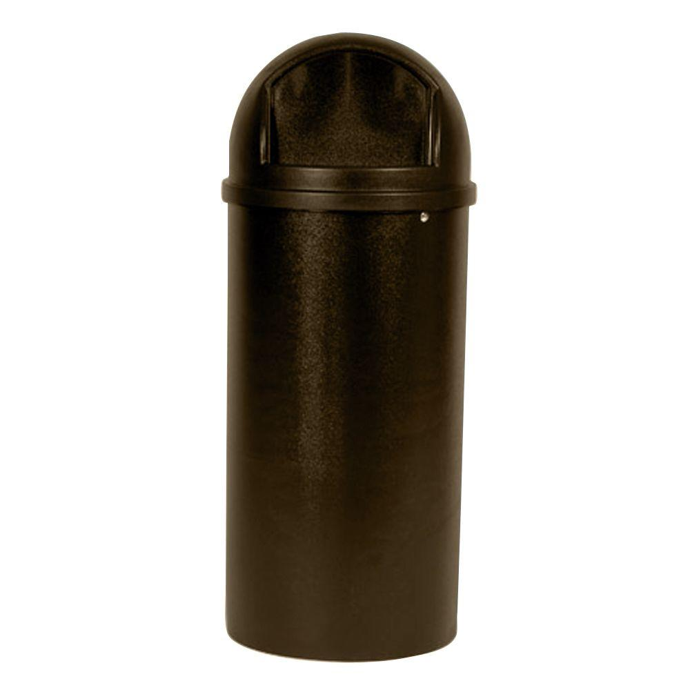 Rubbermaid Marshal 25 Gal. Brown Classic Round Top Trash ...