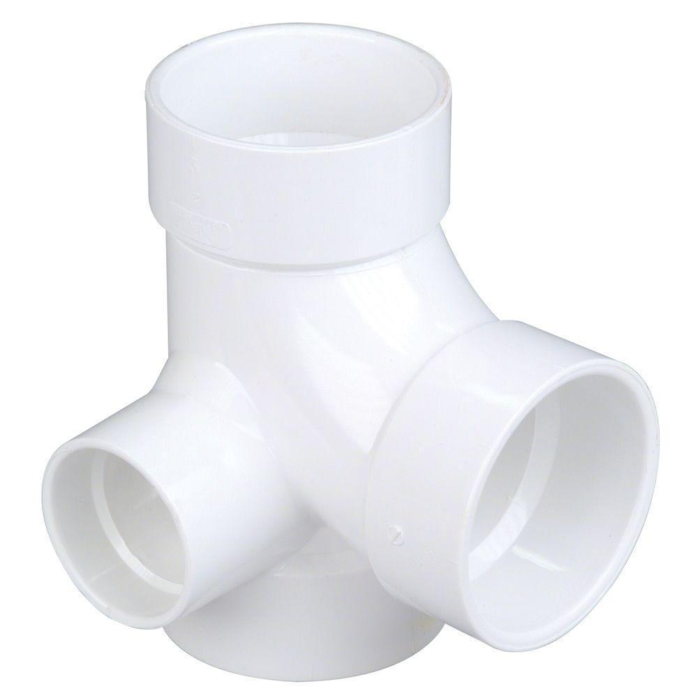 null 3 in. x 3 in. x 3 in. x 2 in. PVC All-Hub Sanitary Tee
