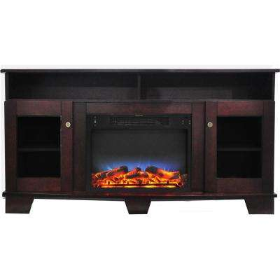 Savona 59 in. Electric Fireplace in Mahogany with Entertainment Stand and Multi-Color LED Flame Display