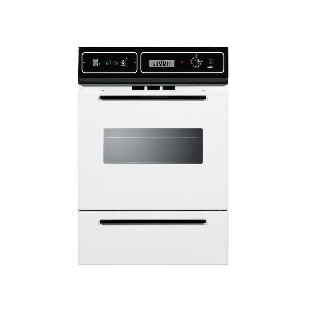 Summit 24 in. Single Gas Wall Oven in White