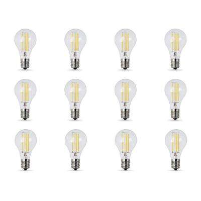 60W Equivalent (2700K) A15 Intermediate Dimmable Filament Clear Glass LED Ceiling Fan Light Bulb, Soft White (12-Pack)