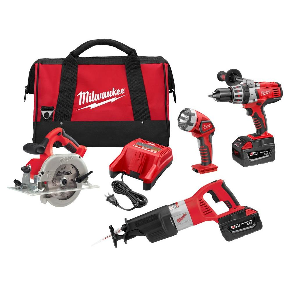 Milwaukee M28 28-Volt Lithium-Ion Cordless Combo Kit (4-Tool)