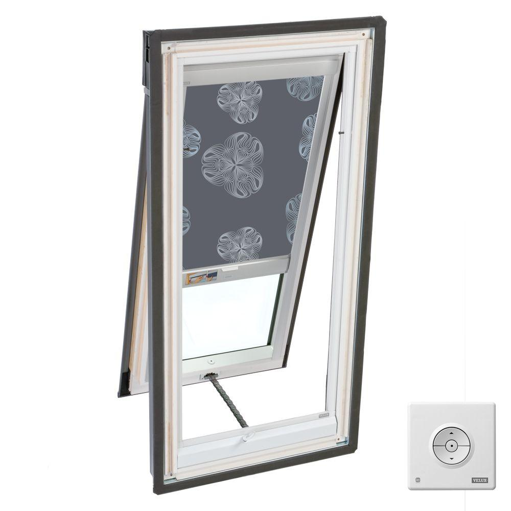 VELUX 21 in. x 26-7/8 in. Venting Deck-Mount Skylight with Metallic Gray Solar Blackout Blinds-DISCONTINUED