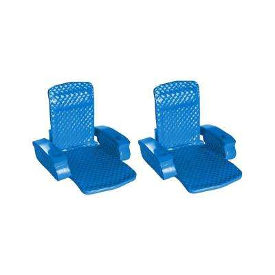 Blue Super Soft Swimming Rectangle Outdoor Durable Inflatable Pool Chair Raft (2-Pack)