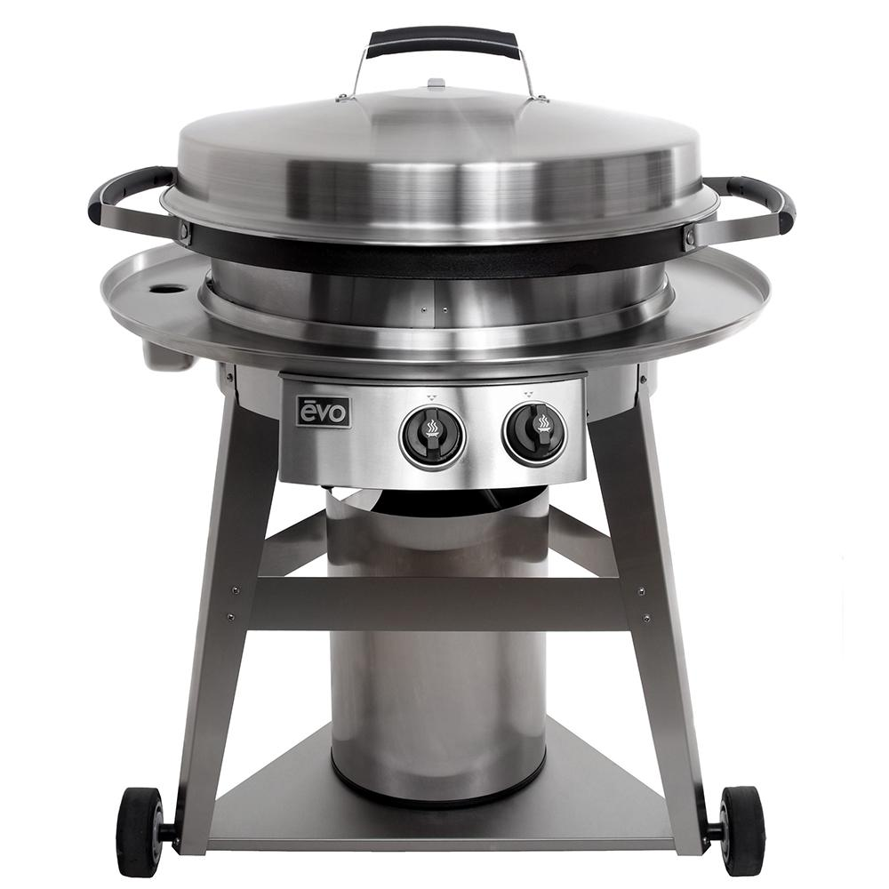 Evo Professional Wheeled Cart 2-Burner Natural Gas Grill in Stainless Steel with Flattop