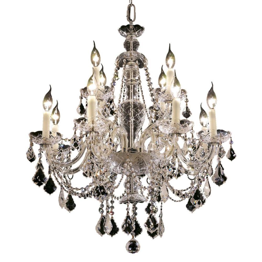 Elegant Lighting 12-Light Chrome Chandelier with Clear Crystal