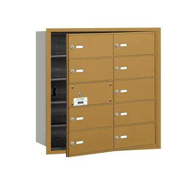 3600 Series Gold Private Front Loading 4B Plus Horizontal Mailbox with 10B Doors (9 Usable)