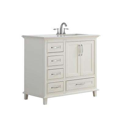 Ariana 36 in. W x 21.5 in. D x 34.5 in. H Vanity in Soft White with Stone Vanity Top in Bombay White with White Basin
