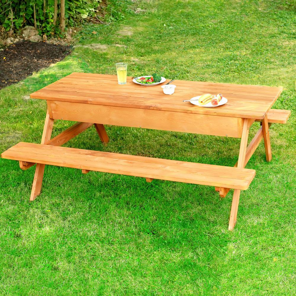 Superb Leisure Season Rectangle 71 In W X 63 In D X 29 In H Wooden Brown Picnic Table With Storage Spiritservingveterans Wood Chair Design Ideas Spiritservingveteransorg