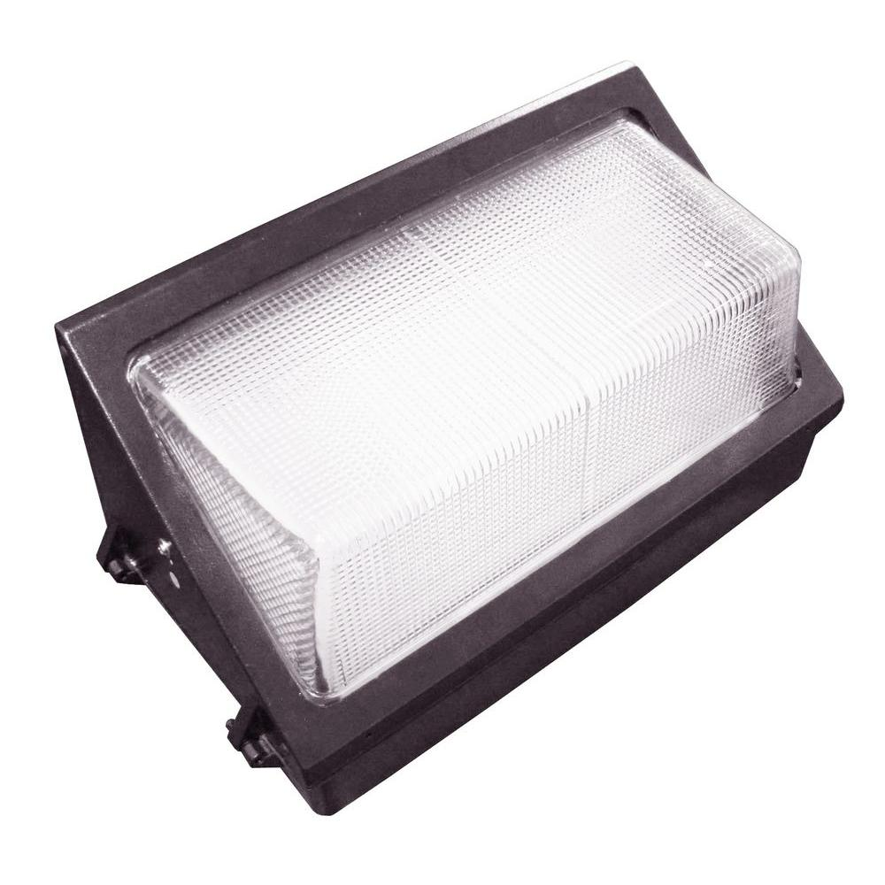 60-Watt Outdoor Black LED Wall Pack with Photocell and Glass Refactor