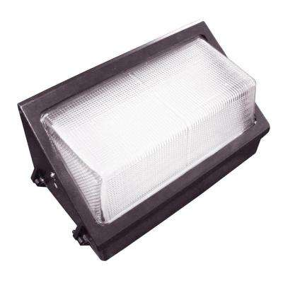 60-Watt Outdoor Black LED Wall Pack with Photocell and Glass Refactor Natural White (5000K)